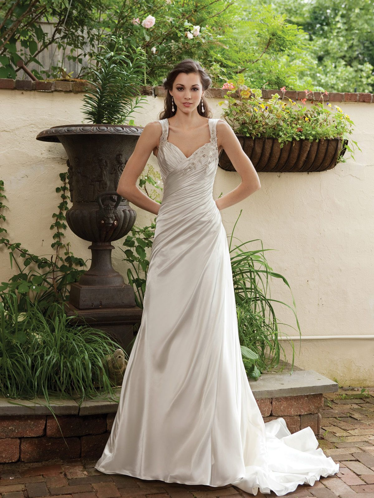 Garden Wedding Dresses | Satin gown, Satin and Gowns