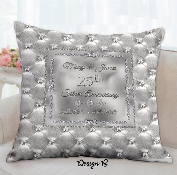 Silver Anniversary Pillows, 25th Anniversary Gifts for Parent, 25th Anniversary, Silver Anniversary, 25th anniversary gifts for a couple#25th #anniversary #couple #gifts #parent #pillows #silver
