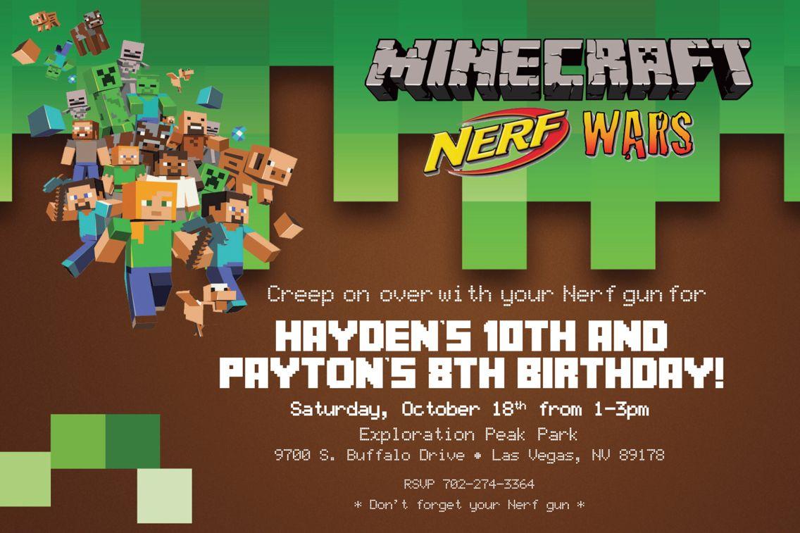 Minecraft Nerf War Birthday Invitations By DOODLEBOX Art On Etsy