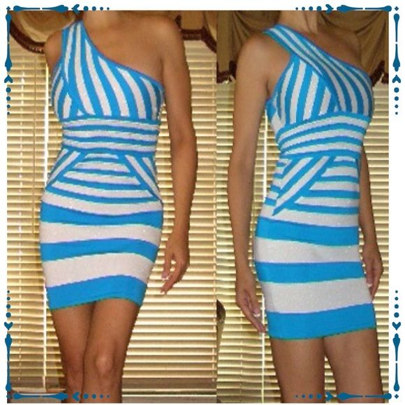 """Stripe geometric bandage body con clubbing dress Featured is a gorgeous turquoise blue & white bandage dress. Made with spandex & rayon fabric Designed with fitted structure that hugs your curves. In excellent condition with no rips or stains. Tagged size Small. Measuring with stretch: 33"""" long x 32""""-34"""" chest x 24""""-27"""" waist x 32""""-34"""" hips. WOW couture Dresses Mini"""