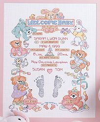 Janlynn BABY STEPS WELCOME BABY Counted Cross Stitch Kit w//PAINT FOR FOOTPRINTS