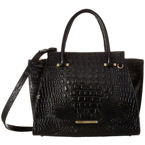 Brahmin Priscilla Satchel (Black) Satchel Handbags ($385) ❤ liked on Polyvore featuring bags, handbags, genuine leather satchel, real leather handbags, brahmin, leather satchel purse and leather handbags