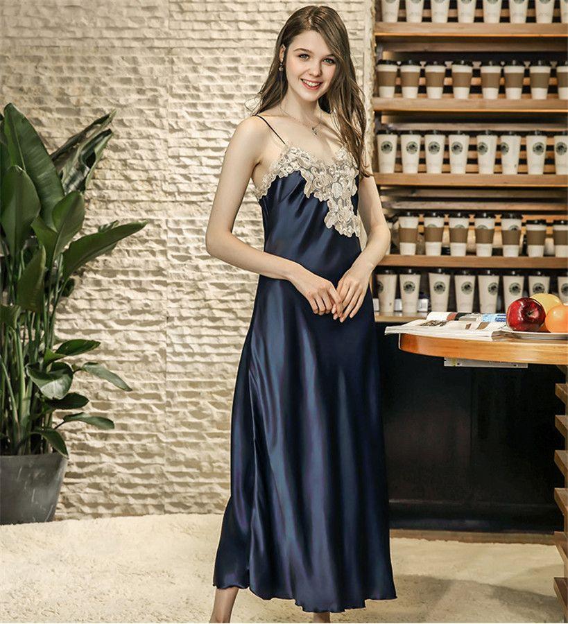 cc726b4a8e ENGAYI Brand Summer Women Nightwear Plus Size Faux Silk Satin Night Dress  Girls Sleepwear Nightgown Nightdress Night Down DQ636 - MISS LADIES