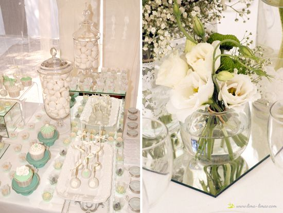 Details of the desset table for this white and light green mint wedding wiht silver details...and flowers centerpieces
