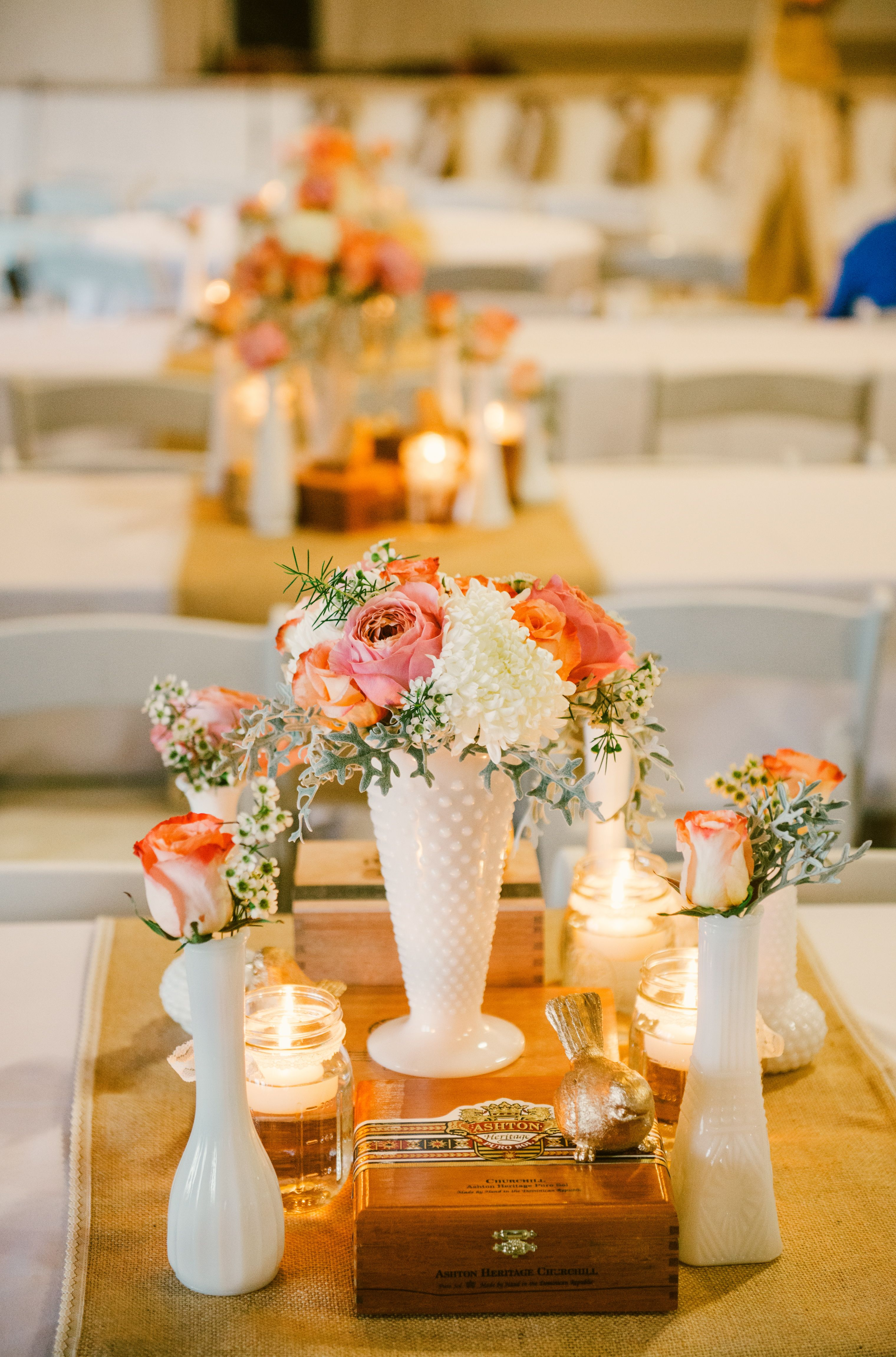 Centerpieces Collection Of Milk Glass Floating Candles In Mason
