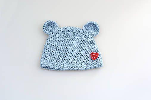 eb647523cdba0 Bledomodrá čiapka macko EXTRA FINE (srdiečko) / MolieBaby | Háčkované a  pletené vecičky bábätká | Vlny, Clothes a Pletené