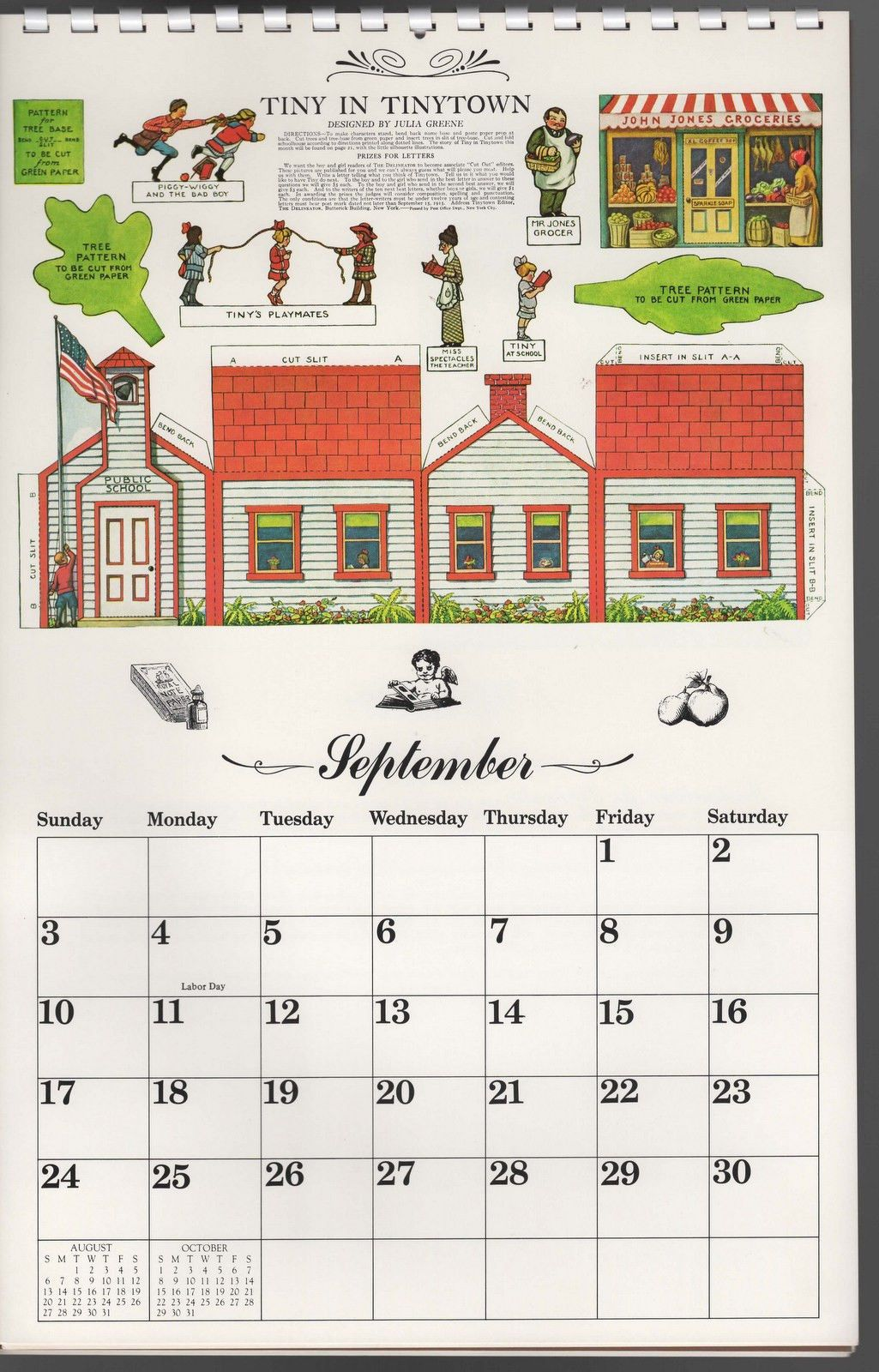 1978 Calendar September.A Creative Calendar By Elspeth 1978 Paper Doll Post Cards Paper