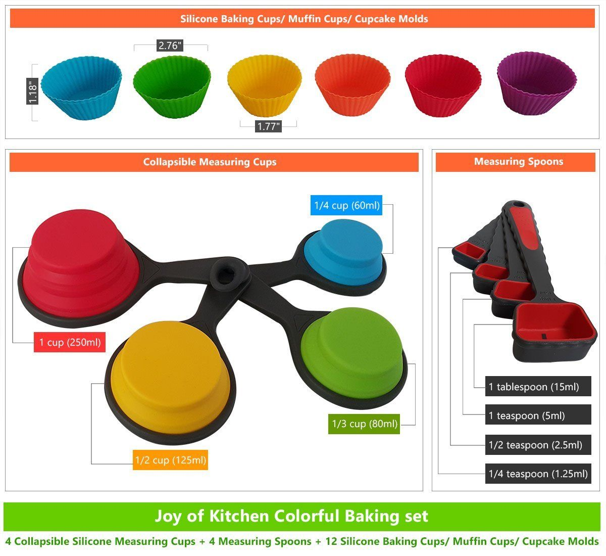 Decorative Measuring Spoons And Cups Amazoncom Joy Of Kitchen Colorful Silicone Collapsible Folding