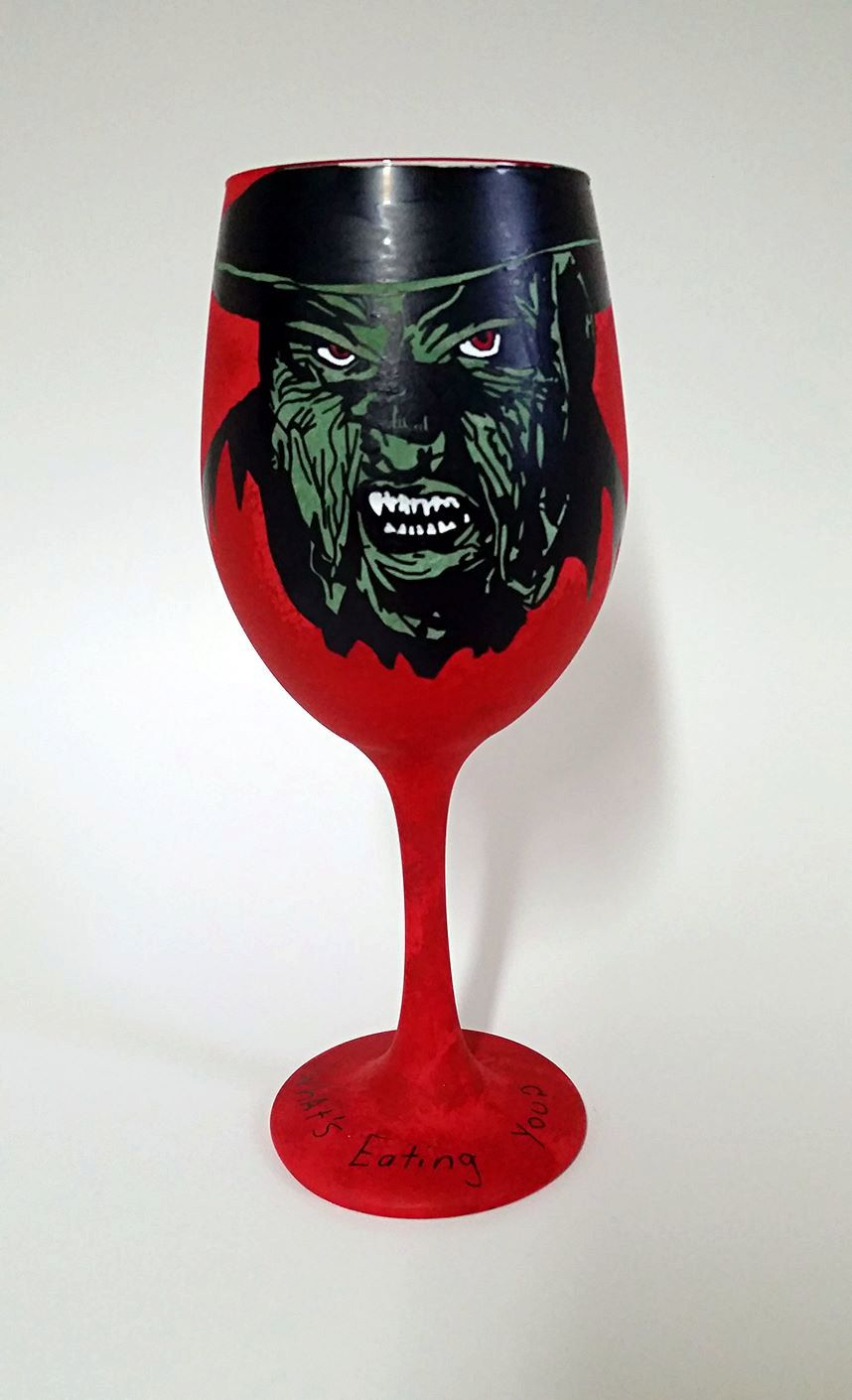 Horror Movie Villain Inspired Hand Painted Wine Glass Etsy Hand Painted Wine Glass Painted Wine Glass Hand Painted Wine Glasses