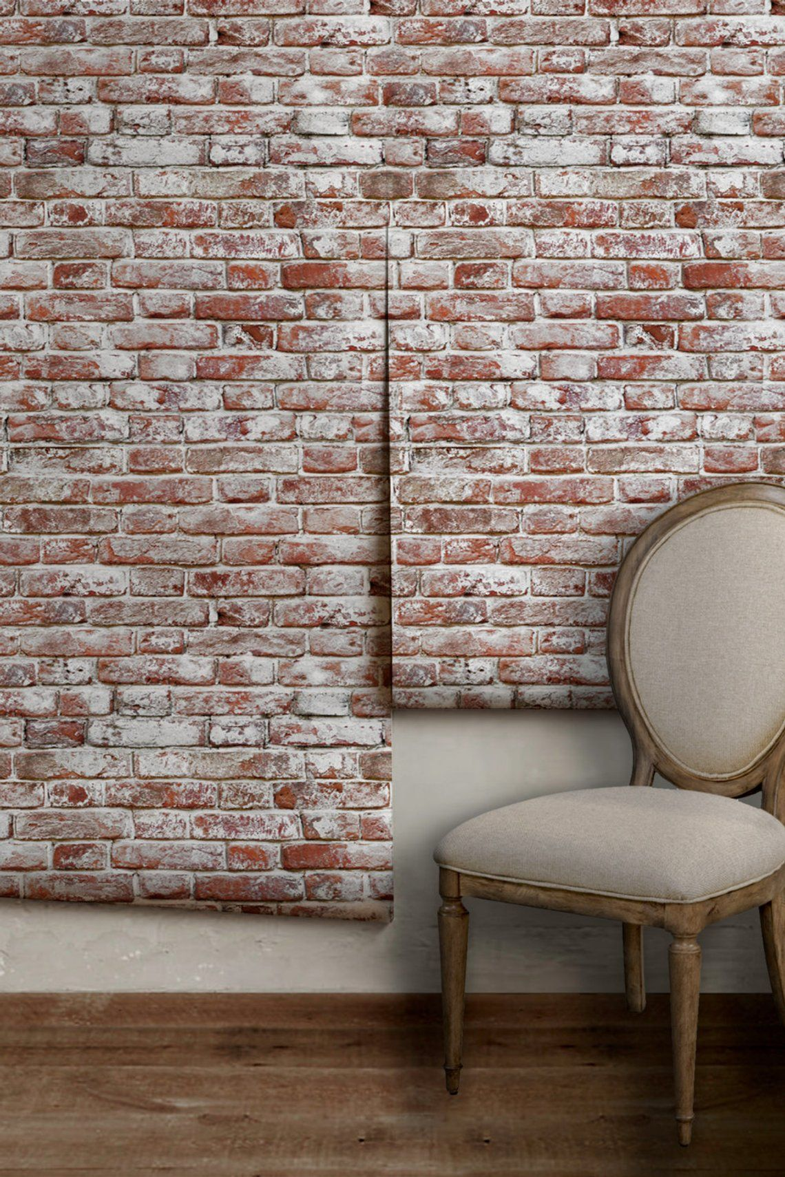 Whitewashed Antique Brick Peel N Stick Or Traditional Wallpaper Made In The Usa Vinyl Free Non Toxic Faux Brick Walls Antique Brick Brick Wallpaper