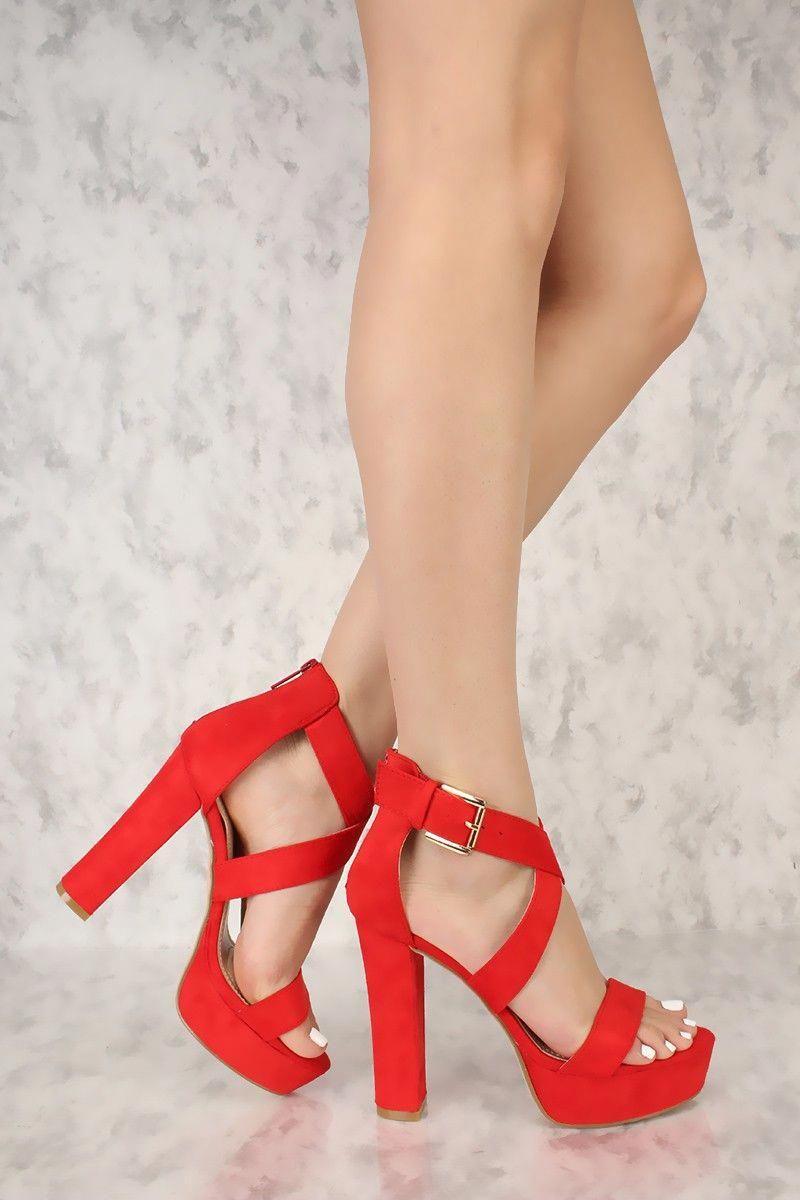 25d28fc4f Red Criss Cross Open Toe Platform Pump Chunky High Heels Faux Suede  #Platformpumps