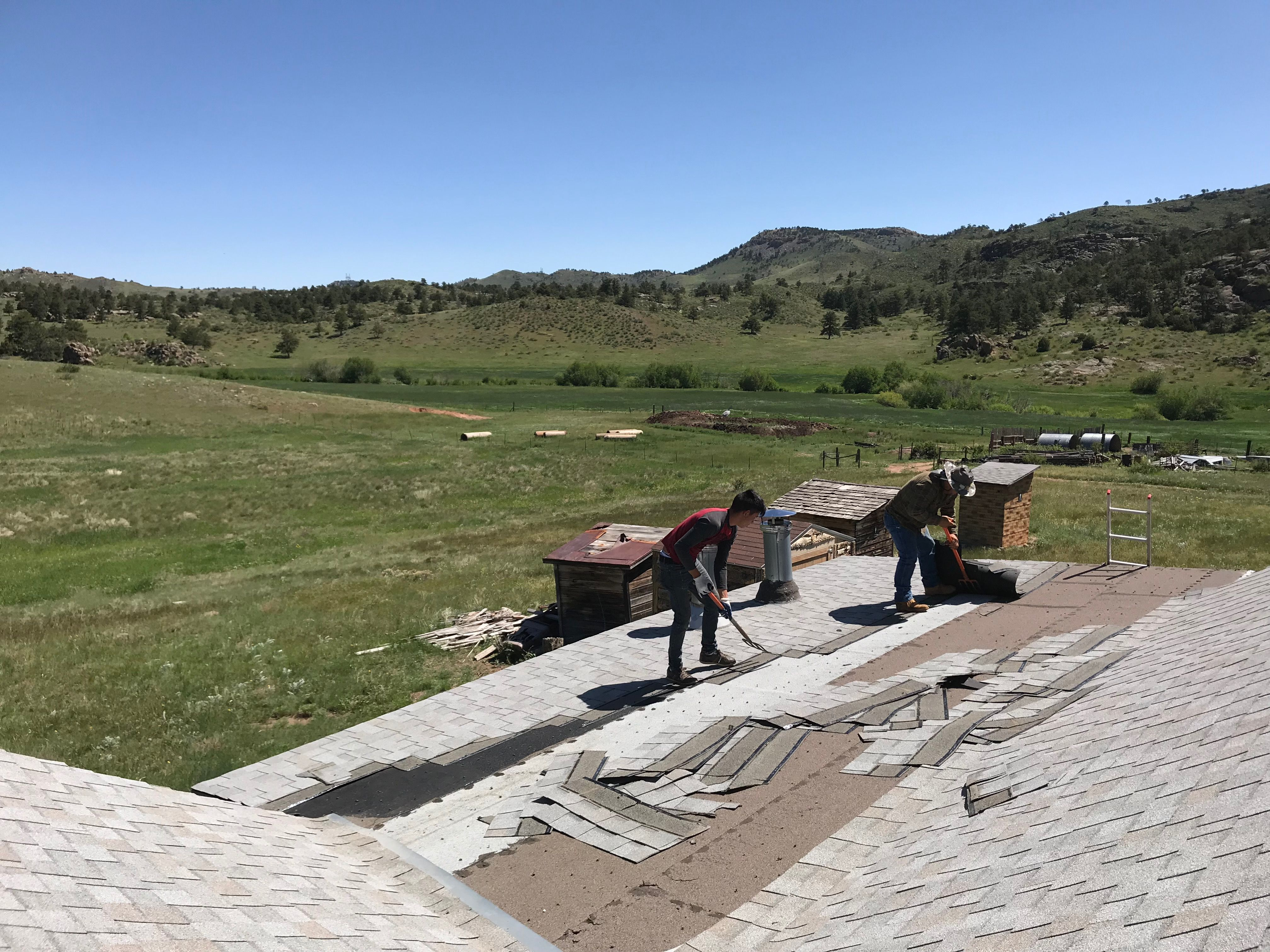 The Crew Is Tearing Off The Flat Roof Portion Of The Roof On The Hurzeler House We Re Roofed The Flat Portion With A Flat Roof Roofing Contractors Shingling
