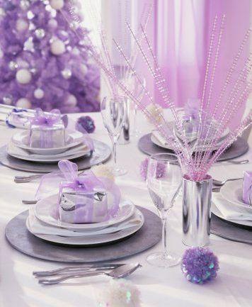 Silver Lilac Christmas Dining Table Christmas Xmas Holiday Decorating Decor Purple Christmas Purple Christmas Decorations Purple Table Settings