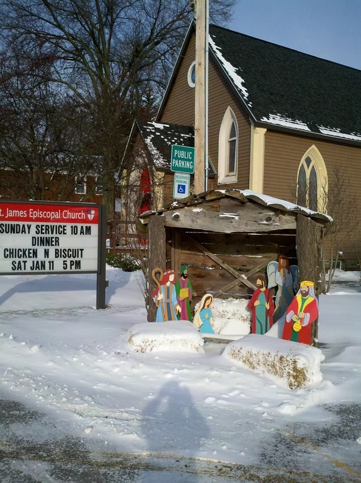 Nativity scene taking up 2 accessible parking spaces