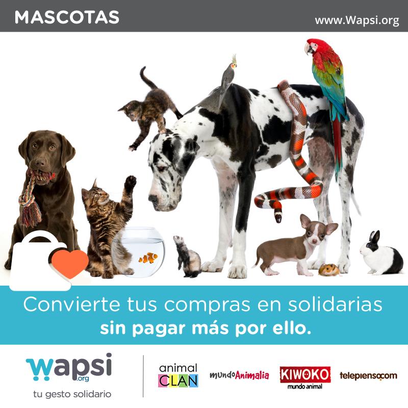 ¿Tienes #mascota? Si sueles comprar online, recuerda q puedes convertirlo en solidario vía http://Wapsi.org :)