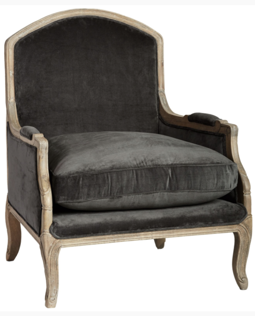Halson armchair in charcoal or green upholstery