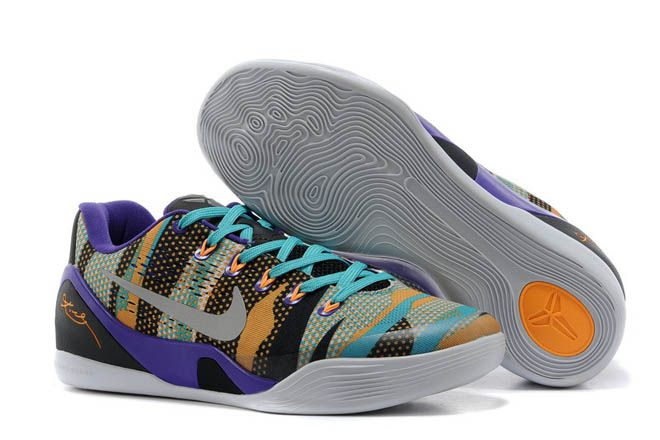 116b2604b6ca Unleashed Tiger Floral - Nike Kobe IX 9 EM Purple Silver Yellow Turquoise  Colorway Mens Low Sneakers