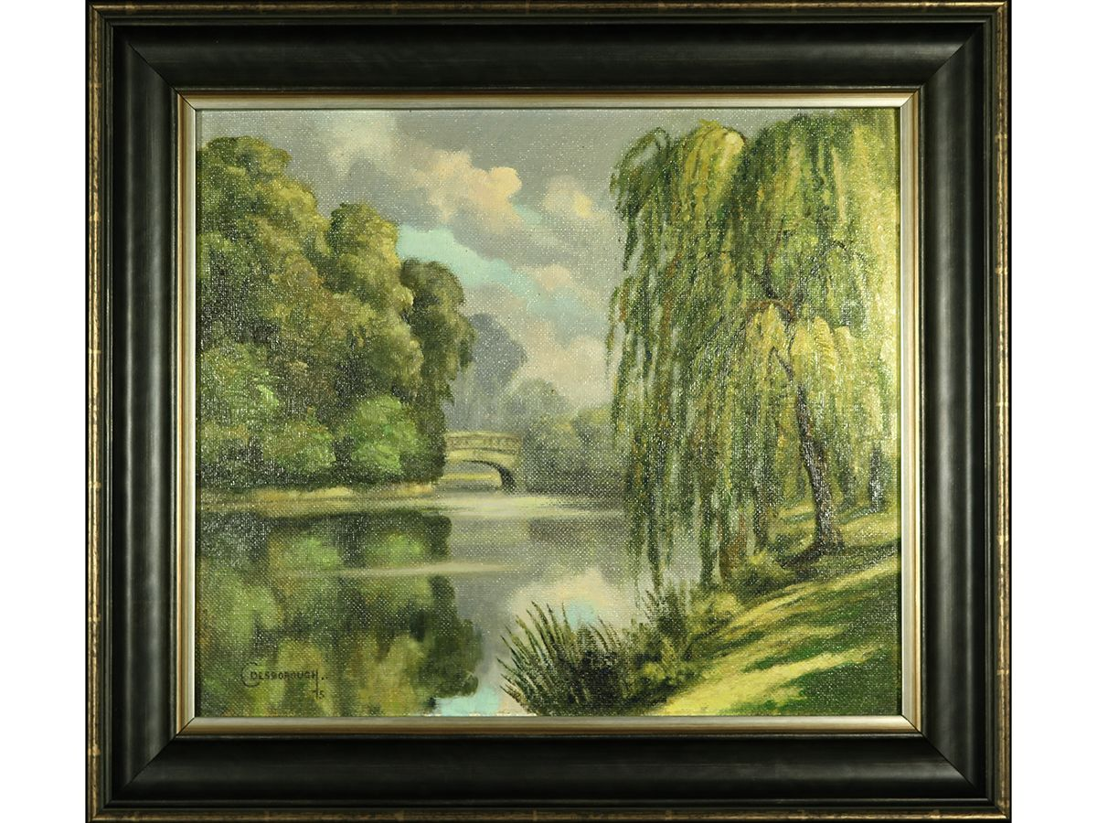 River Landscape By C Desborough Oil On Board Signed Framed Sold Oilpainting Landscape Affordable Art Art Gallery Oil Painting