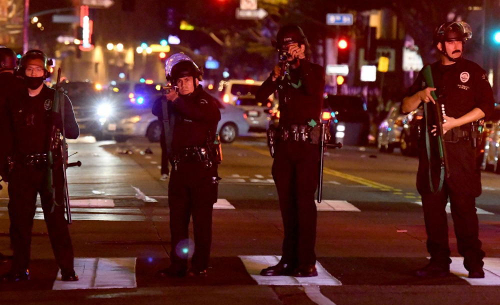 Protesters Met By Multitudes Of Police In Downtown L A On Saturday Night In 2020 Protest Downtown Downtown Los Angeles