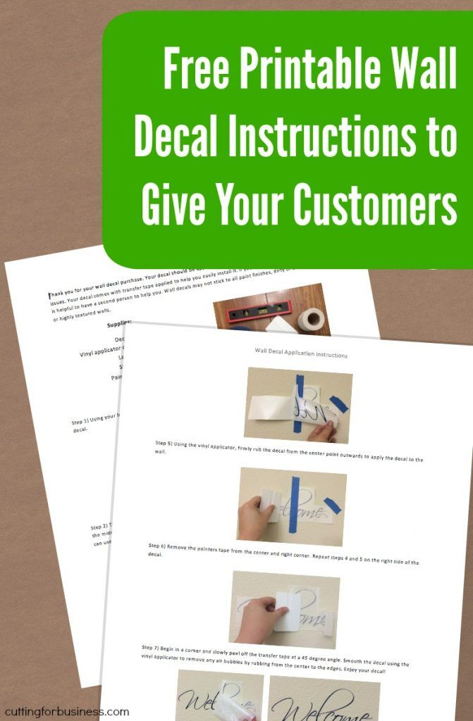 Free Printable Wall Decal Instructions For Your Silhouette Or - Vinyl wall decals application instructions