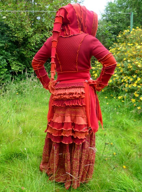 SpiralGypsy   Fire Sprite - Custom Gypsy Pixie Bustle coat from recycled sweaters - RESERVED for Beth