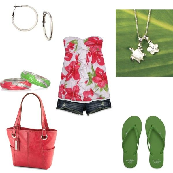 Pink & Green- Summer, created by jklmnodavis on Polyvore