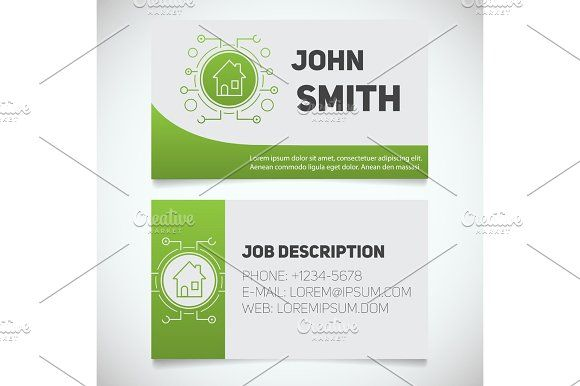 business card print template with smart house logo house logos