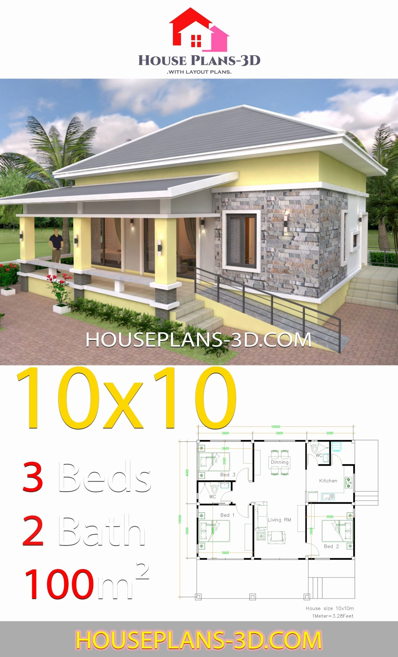Hip Roof House Plans Contemporary Unique House Design 10x10 With 3 Bedrooms Hip Roof In 2020 In 2020 House Plans Bungalow House Plans House Roof