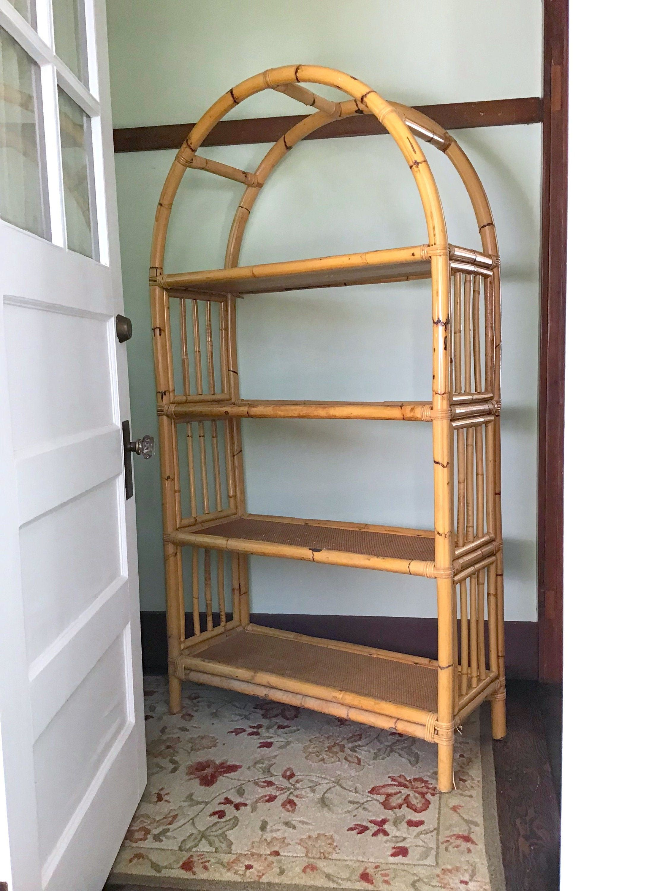 Bamboo Bookshelf Rattan Etagere Vintage Shelving With Images