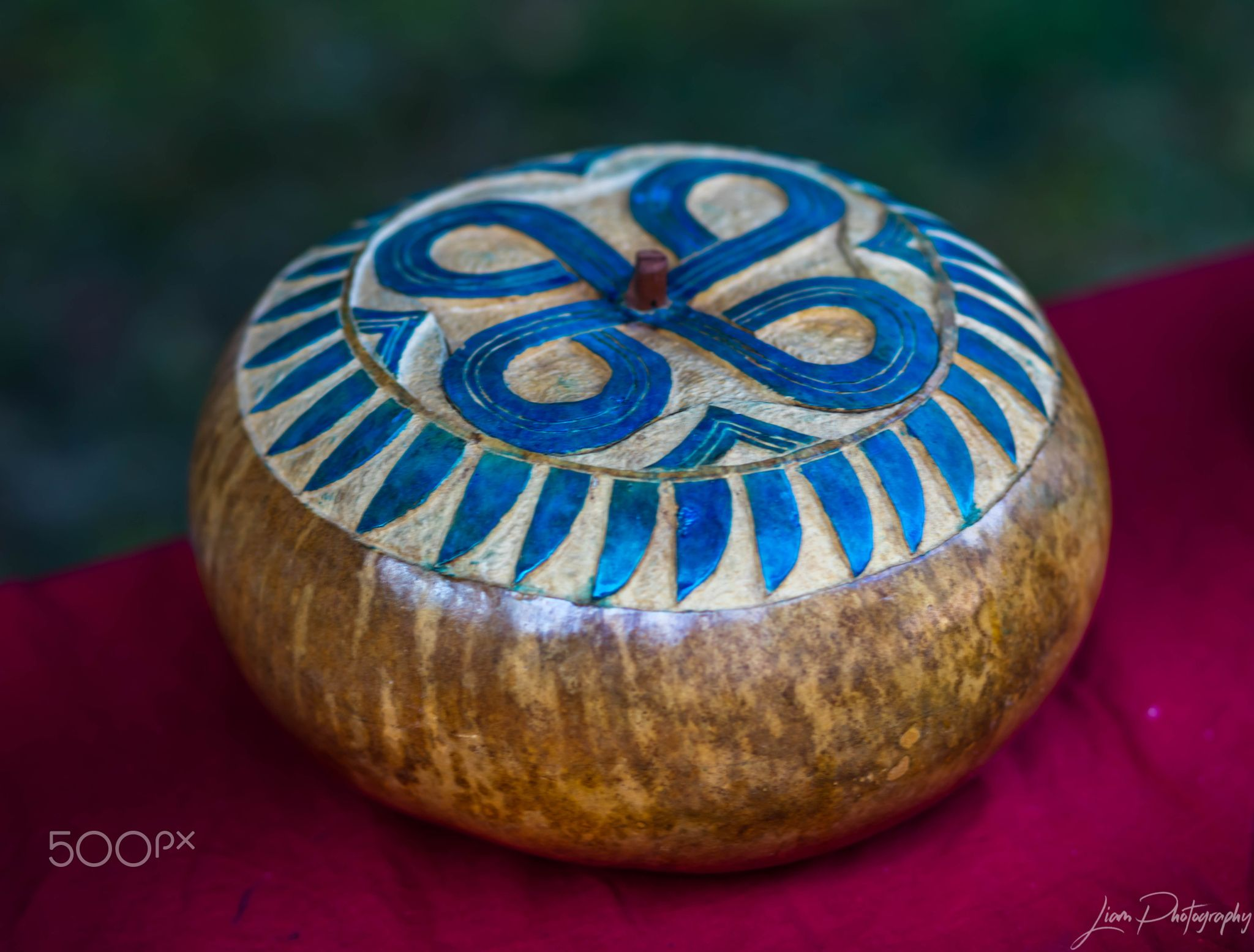 Carved Bowl - This is a Native American bowl carved out with a lid.