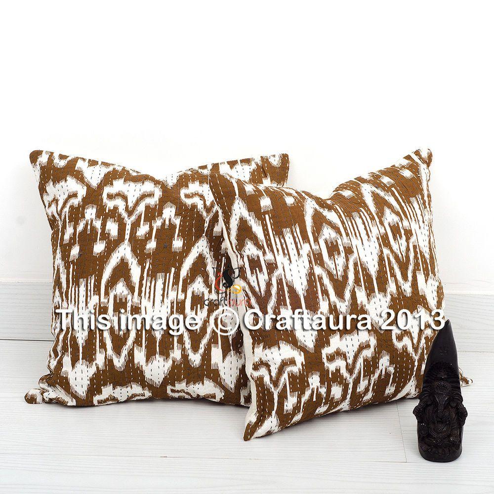 Ikat handmade pillow case 16 indian kantha cushion pillow