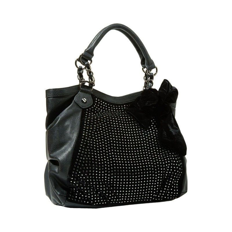 Betsey Johnson Crystal Palace TOTE in BLACK Velvet BJ26420 Shiny CRYSTAL STUDS! #BetseyJohnson #TotesShoppers