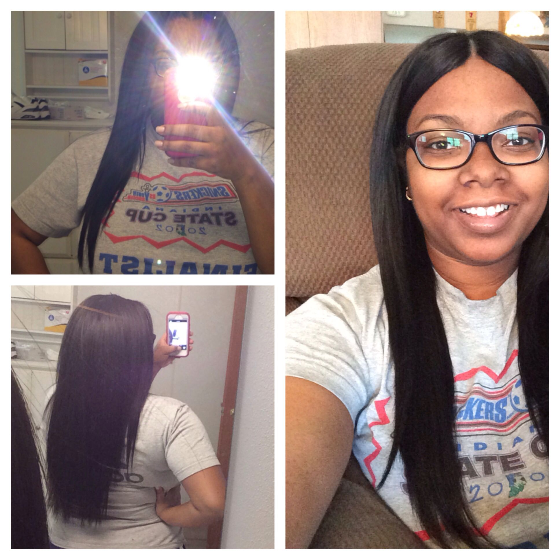 Finished long sew-in. 16.14.12.inches. W/ invisible part.