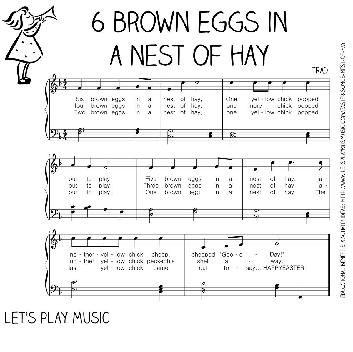Spring Song : 6 Brown Eggs in a Nest of Hay | Farm theme, Music ...