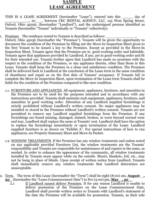 Sample Lease Agreement  TemplatesForms