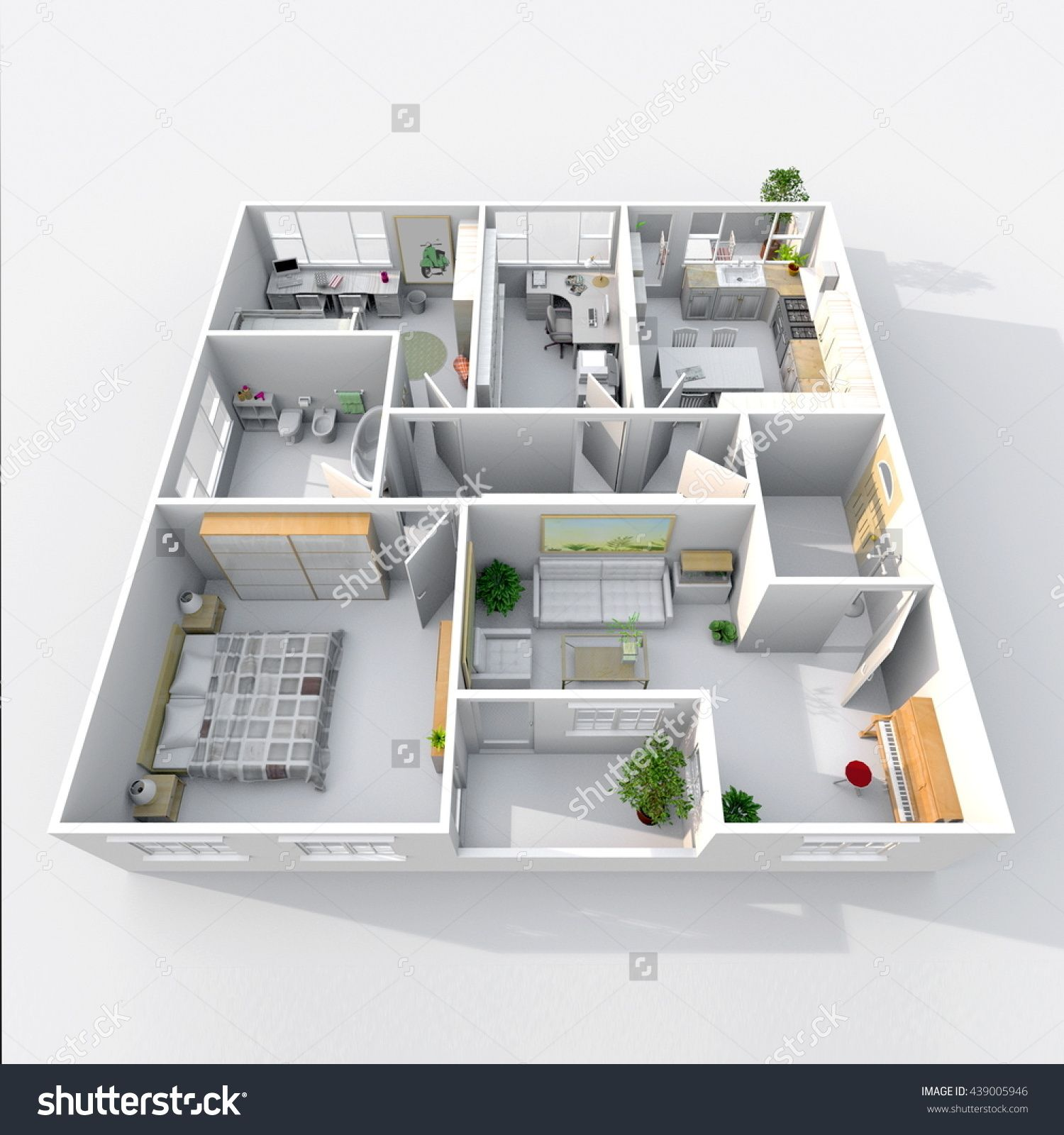 3d Interior Rendering Perspective View Of Square Furnished Home Apartment Room Bathroom Bedroom