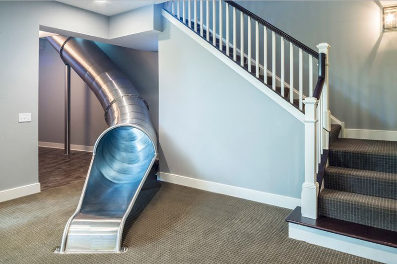 20 Playful And Creative Indoor Slide And Stairs Combination Indoor Slides Small Space Interior Design House Design