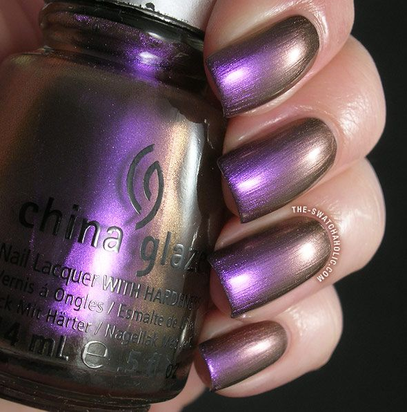 China Glaze No Plain Jane Swatch New Bohemian Collection Swatches Duochrome Metallic Copper Purple Nail Polish