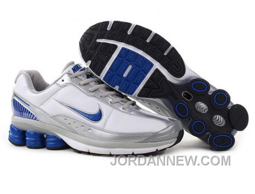 Discount Authentic Mens Nike Shox R6 Shoes White/Blue/Black