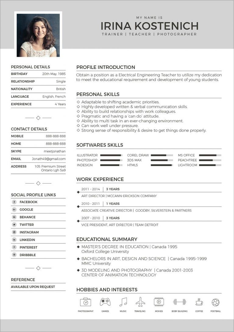 50 Free Resume/ CV Template In PSD, Ai, Word, INDD, Sketch