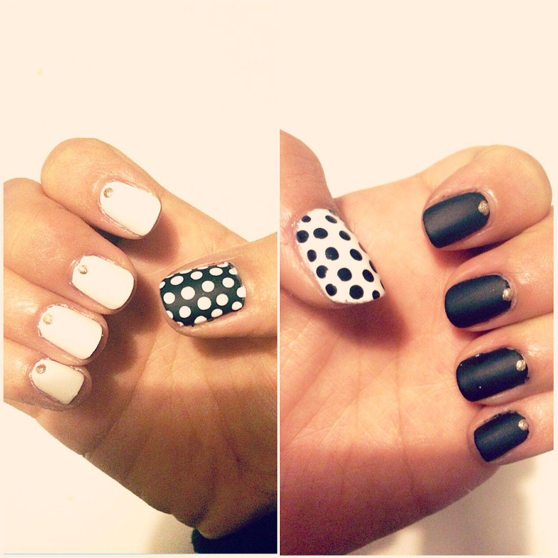 Classy black and white mani