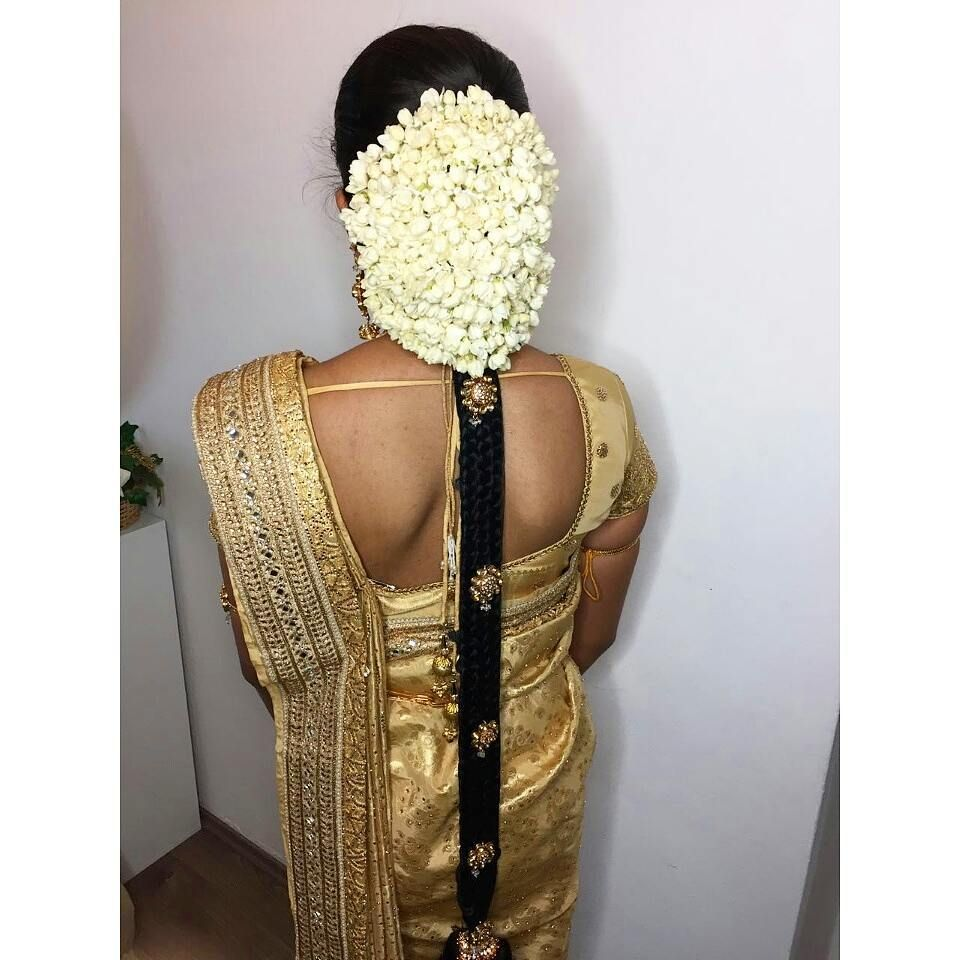 Hairstyles With Flowers Kerala: II Manavarai Look II Thanu II #makeupbyabinii (With Images