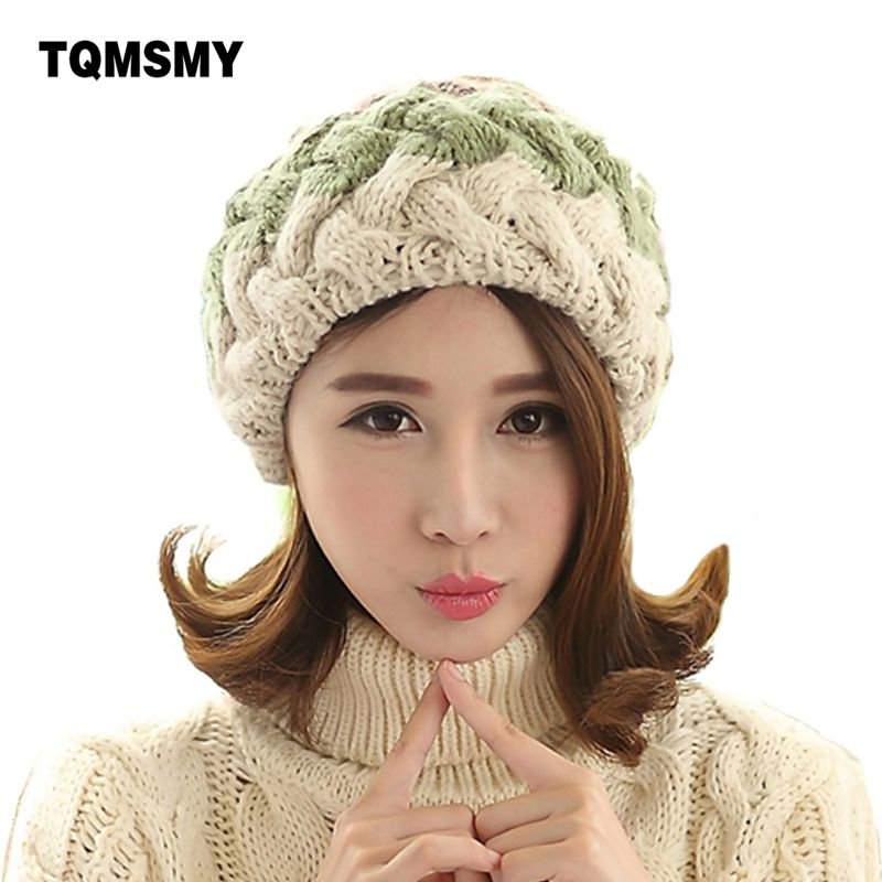 5dd4e840df8 Fashion winter berets for women knitted wool flat caps french style vintage real  rabbit fur ball