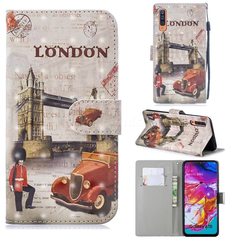 Retro London 3d Painted Leather Phone Wallet Case For Samsung Galaxy A70 Galaxy A70 Cases Guuds