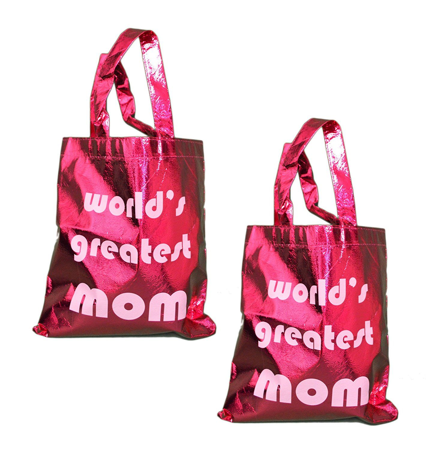 Lot of 2 Shiny Metallic World's Greatest Mom Gift Bag Shopping Tote * Trust me, this is great! Click the image. : Wrapping Ideas