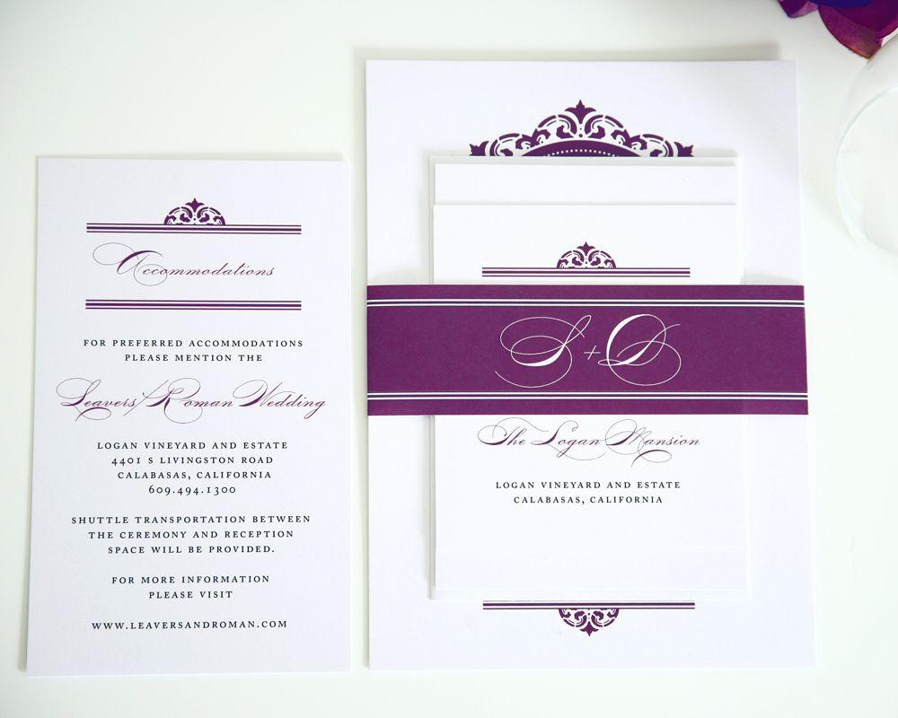California Damask Wedding Invitations | Purple wedding, Wedding and ...