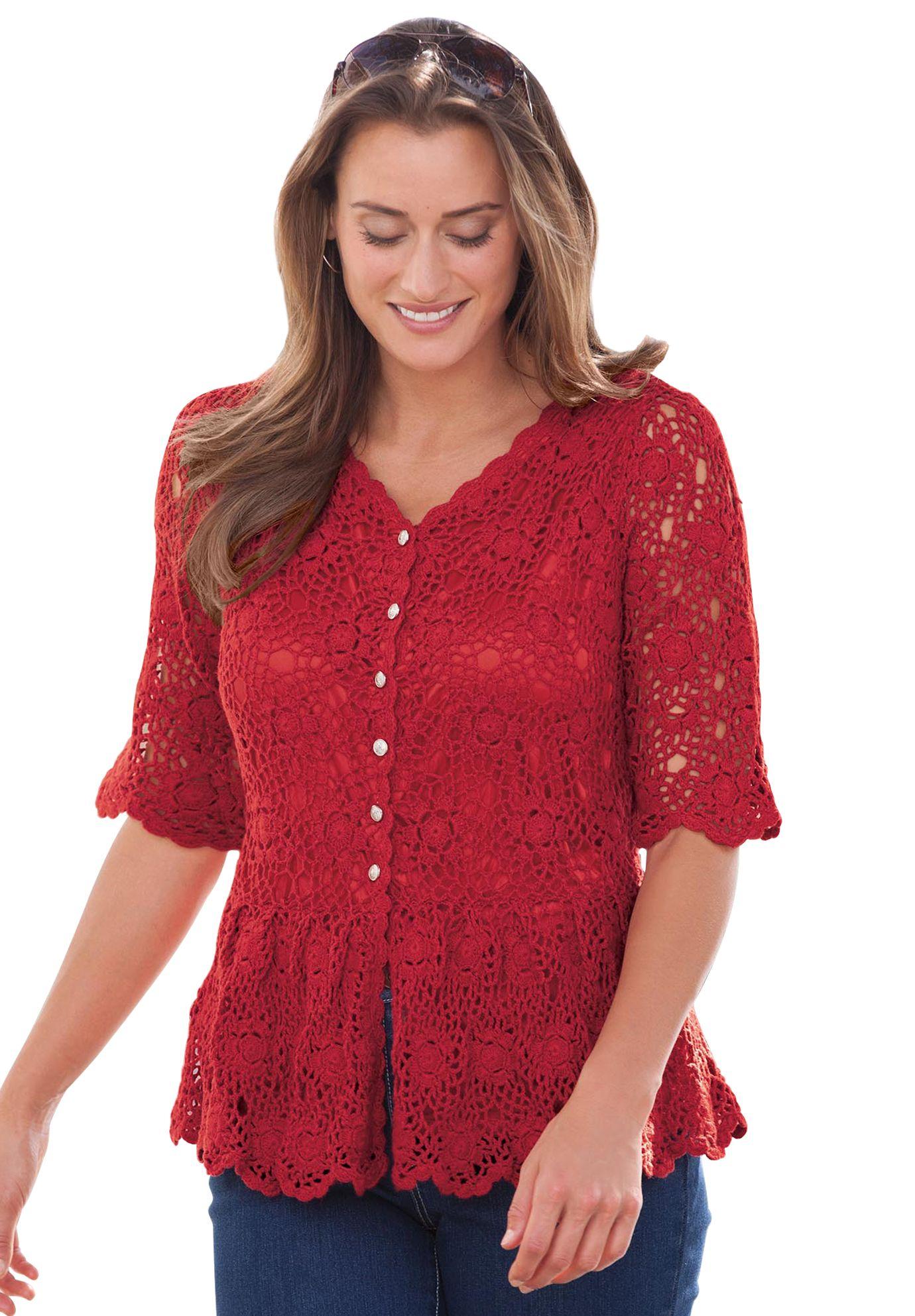 Crochet Cardigan | Plus Size Sweaters & Cardigans | Jessica London ...