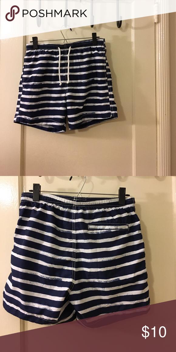 a747cbefe2 H&M men's swim trunks Navy blue and white striped short (above the knee) swim  trunks. Excellent condition! H&M Swim Swim Trunks