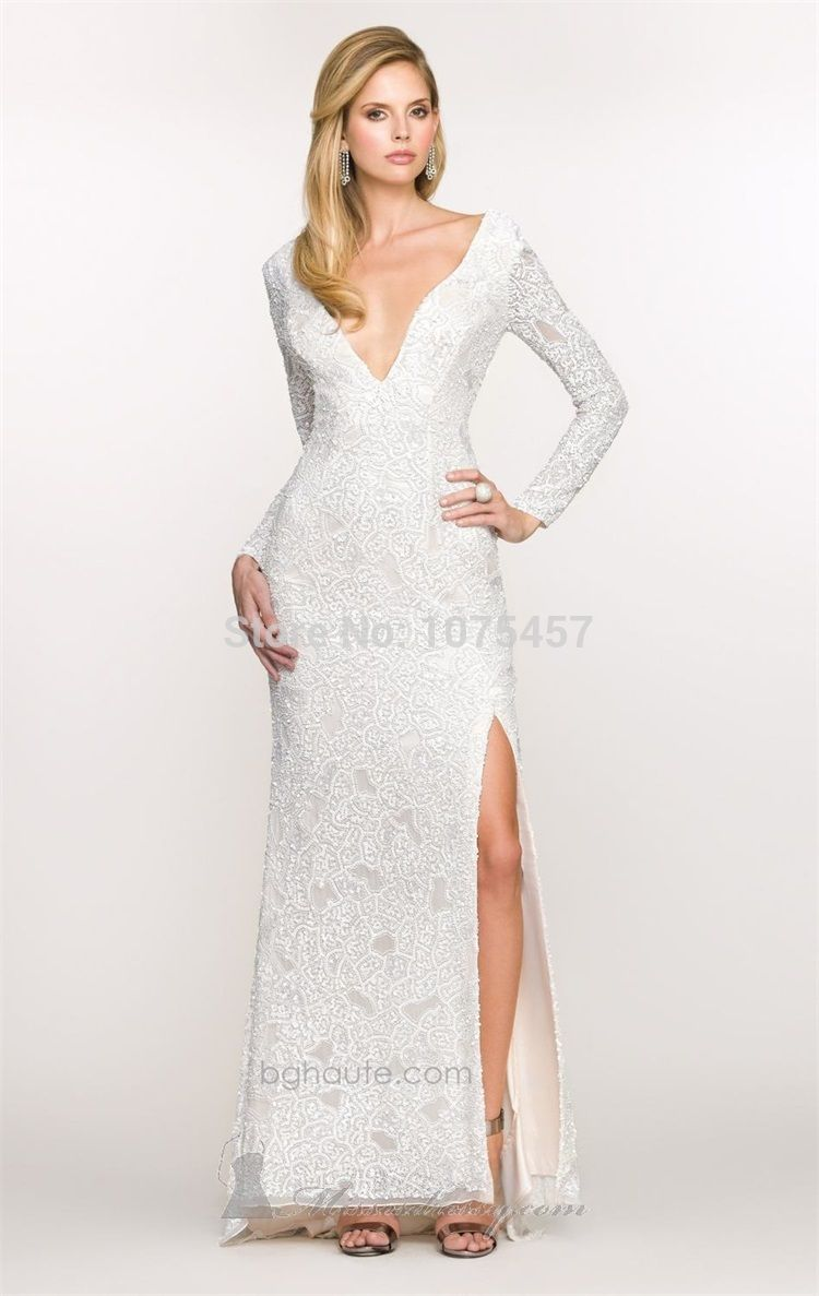 Click to buy ucuc latest design sexy low back long sleeve prom dress