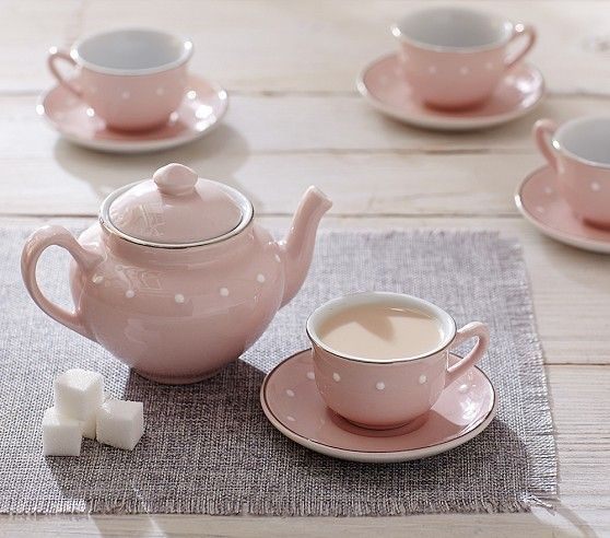 Pink Ceramic Classic Tea Set Pottery Barn Kids